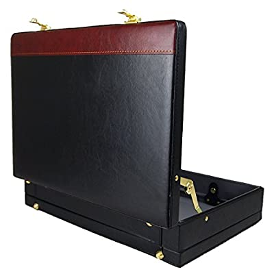 Mens Faux Leather Black & Brown Executive Work Business Briefcase - laptop-briefcases, laptop