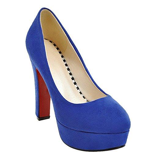 MissSaSa Donna Scarpe col Tacco Alto Sexy e Elegante Nubuck Blue