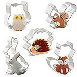 Iindes Ausstechformen, Kaninchen, Eule, Fuchs, Igel und Eichhörnchen, 5-teiliges Set