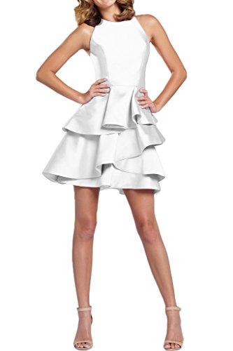 Gorgeous Bride Elegant Rundkragen Mini Satin A-Linie Rueckenfrei Abendkleider Ballkleider Prom Kleider Weiß