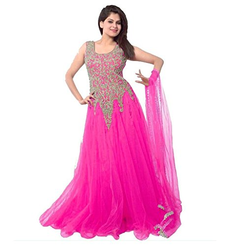 Starword Dresses forWomen's Net Embroidered Semi-Stitched (gown) (GOWN_RANI_FREE SIZE)  available at amazon for Rs.248