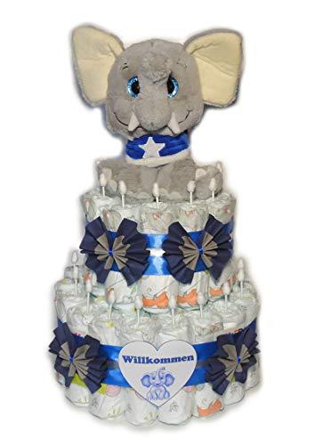 Tarta de pañales, elefante con pañuelo y ojos brillantes, color azul