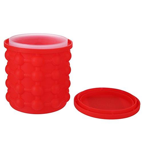 Kasit Ice Genie Eis Cube Maker Eisbehälter Silikon mit deckel Eiseimer Mini tragbare Eiskübel Eiswürfelform Eiswürfelbereiter für Bier Trank Cocktails Whisky Vodka-1 pc Rot