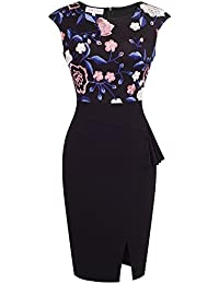 Belle Poque Womens Formal Party Embroidery Scoop Neck Bodycon Midi Dresses Floral-1(739