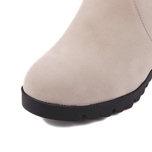 AalarDom Damen Reißverschluss Rund Zehe Hoher Absatz Mattglasbirne Stiefel Cremefarben