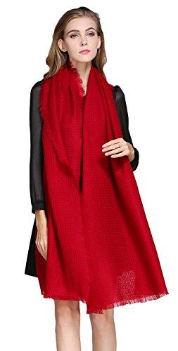 Damen Reiner Wolle Warm Crepe Georgette Lang Farbe Schlicht Leicht Rot (Double-sided-match)
