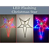 M-Tech LED Flashing Christmas Star Multicolour Flashing (Star With Star Center And Trans-Corner) For Christmas Tree Decoration - 48x34x3 Cm (Set Of 1pc Star)