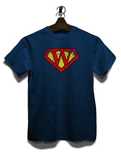 W Buchstabe Logo Vintage T-Shirt Navy Blau