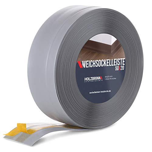 HOLZBRINK Weichsockelleiste selbstklebend HELLGRAU Knickleiste, 50x20mm, 25 Meter