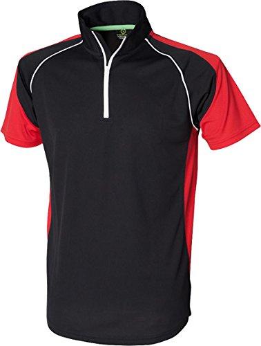 Tombo Teamsport-maniche Raglan Teamsport-Maglietta Polo da uomo con Zip al collo Black / Red / White
