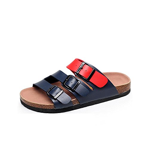 Heart&M Cork Casual Women Flat Sole Flat Heel Platform Belt Buckle Grande Taille solides Chaussures Couleur Chaussons Sandals Beach a