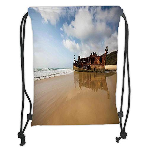 Icndpshorts Drawstring Backpacks Bags,Ocean Decor,Antique Rusty Pirate Ship Wreck on The Coast in Caribbean Island Pacific Sea View,Multi Soft Satin,5 Liter Capacity,Adjustable String ()