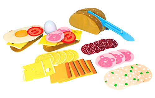 Preisvergleich Produktbild Haba Biofino Brot, Wurstscheiben, Käseaufschnitt und Ei, mit Gemüsebeilage; im Set Brot, Wurst, Käse, Ei für Kaufmannsladen & Spielküche