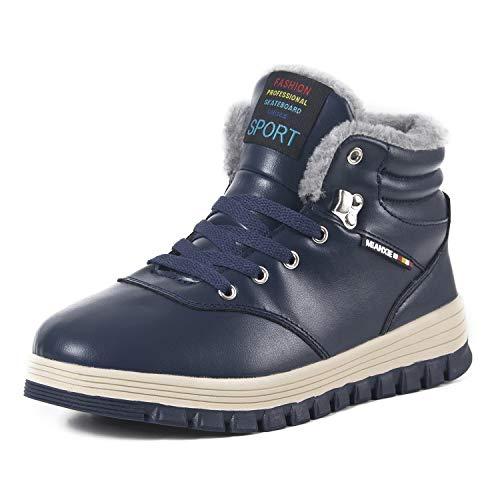 IceUnicorn Herren Winterschuhe Warme Schneestiefel Gefüttert Outdoor rutschfeste Stiefel Leder Knöchel Stiefel Wasserdicht Boots(Blau,43EU)