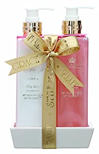 Style & Grace Utopia Bathroom Collection 240ml Luxury Handcare Gift Set with Ceramic Tray