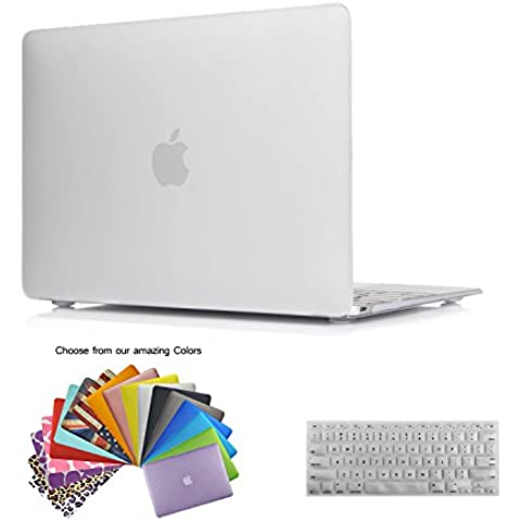 MacBook 12 Retina Fundas,iNeseon(TM) 2 in 1 [Frosted Series]Ultra Delgado Recubierta de Goma Carcasa Dura del Case, US Versión Clara Cubierta del Teclado e EU Versión Transparent Cubierta del Teclado para Apple MacBook 12 pulgada con Retina Display