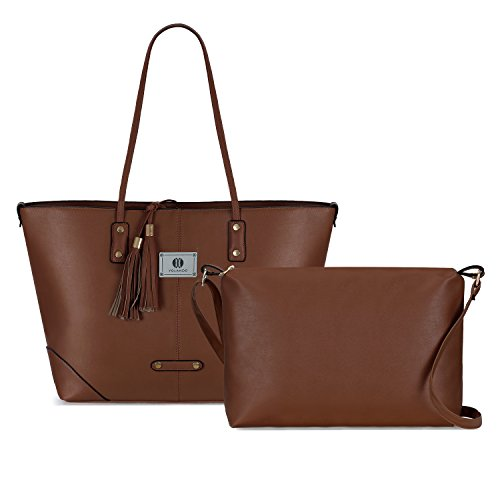 Yolando Womens 2 In 1 Pu Leather Tassels Tote Bag Set, Large Shoulder Bag And Crossbody Messenger Bag Coffee