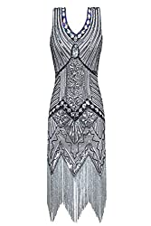 Metme Women's 1920s V Neck Beaded Fringed Gatsby Theme Flapper Dress For Prom (Xxl, Grey)