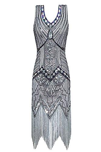 Metme Damen Charleston Kleid der 1920er Jahre V Ausschnitt Perlen Fransen Gatsby Thema Flapper Kleid für Abschlussball Fringe Kleid
