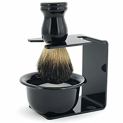 WiCareYo 3 in 1 Men Shaving Razor Clean Set Badger Hair Brush Razor Holder Stand Soap Bowl