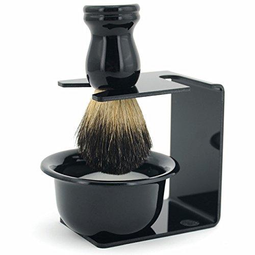 WiCareYo 3 en 1 hombres afeitar la maquinilla de afeitar limpiar conjunto tejón cepillo de pelo maquinilla de afeitar soporte jabonera