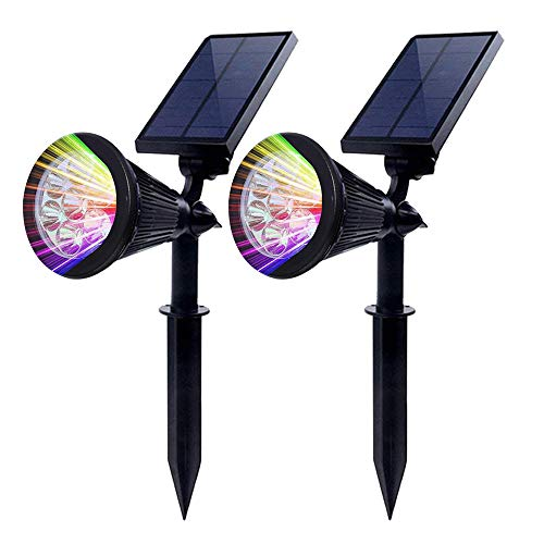 2 Stück Chao zan Gartenleuchten [Farbe ändern], 7 RGB Farbe LED Lampenperlen,Solar Lichter Auto-on/off,Flag Pole Lichter, Wasserdichte Outdoor Spot Licht für Garten, Pool, Baum, etc. (Outdoor Solar Spot-lichter)