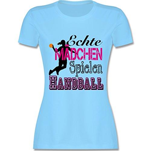 Handball - Echte Mädchen Spielen Handball - M - Hellblau - L191 - Damen T-Shirt Rundhals
