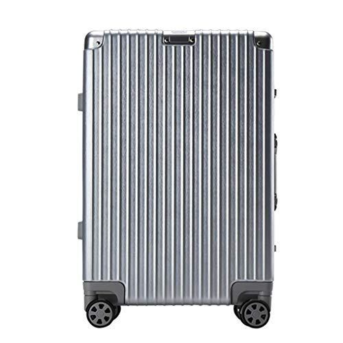 Mhjmijb Qualitäts-Stab-Box, Laptop Case Trolley Bussiness Check-in Gepäck, Bussiness-Koffer Tasche, 4 Räder, ABS + PC, mit TSA Schloss (24inch, Schwarz, Silber, Weiss) (Color : Silver)