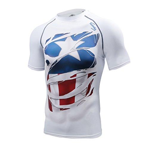 Khroom® Herren Funktionsshirt Kurzarm atmungsaktiv im Helden Design (Captain America weiß, XXL)