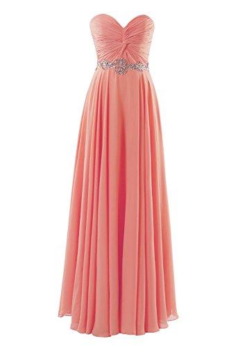 YiYaDawn Langes Cocktailkleid Abendkleid Brautjungfernkleid für Damen Koralle