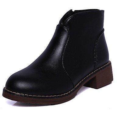 Rtry Femmes Chaussures Caoutchouc Automne Retour Bottes De Combat Bottes Chunky Talon Bout Rond Pour Extérieur Noir Noir Us8 / Eu39 / Uk6 / Cn39 Us6.5-7 / Eu37 / Uk4.5-5 / Cn37