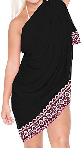 La Leela dolce rayon avvolgere spiaggia solido nappe conchiglie coprire sarong 70x43inch Nero 7