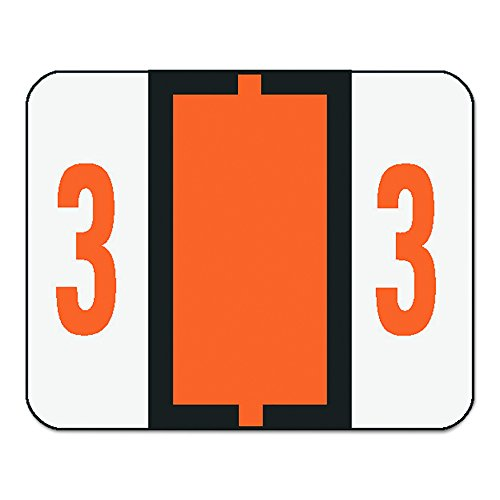 Single Digit End Tab Labels, Number 3, Dark Orange-on-White, 500/Roll