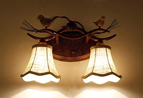 Kreative Beleuchtung dekorative Stoff Gartenlampe benutzerdefinierte Spiegel Scheinwerfer Vogel Nachttischlampe - Doppelkopf