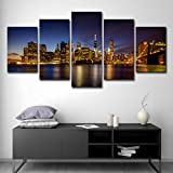SUNSUNNY Canvas Prints, Wall Art Prints on Canvas Brooklyn Bridge Night View Printing Picture Picture Modern Split 5 Pieces HD Artwork for Living Room Bedroom Home Office Decorations (Frameless),M