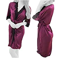 Lingerie Silk Robe Lace Perspective Dress, Sleepwear, One Size - Purple