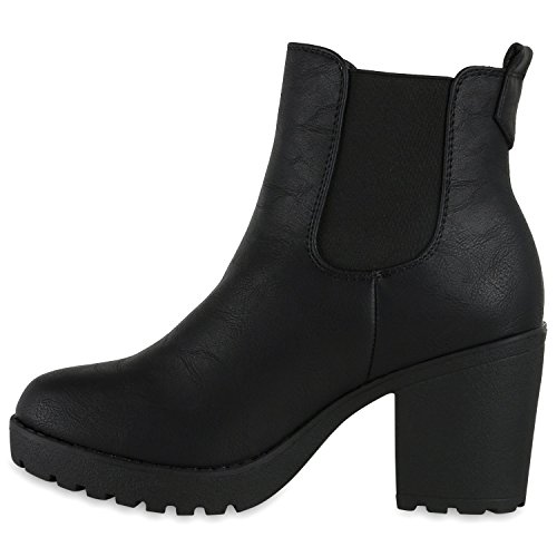 Gefütterte Damen Stiefeletten Chelsea Boots Profil Sohle Schwarz