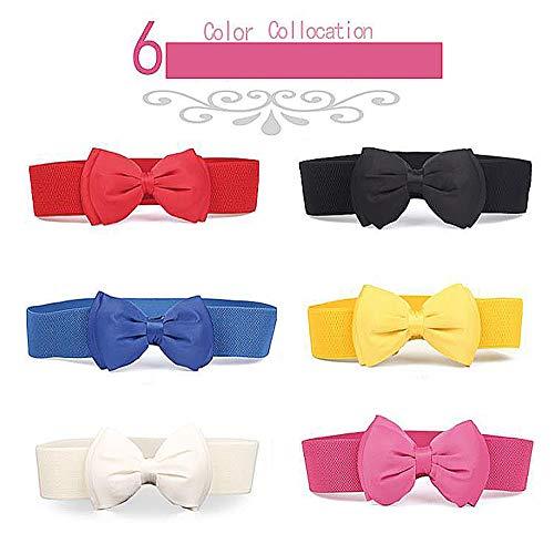 Dwun[y19 tessuti elasticizzati da donna stile casual cintura decorativa con nodo a fiocco, non in pelle cingle, abito da maglia a fiammifero perfetto, corsetto, slip, sottogonna - abito da 6 colori