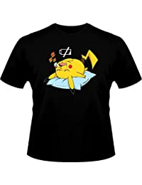 T-Shirt Manga - Parodie Pikachu de Pokemon Go - Batterie déchargée :) - T-shirt Homme Noir - Haute Qualité