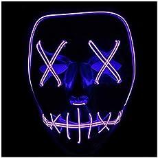 Queta Halloween Maske LED Light EL Wire Cosplay Maske Purge Mask für Festival Cosplay Halloween Kostüm (Lila)