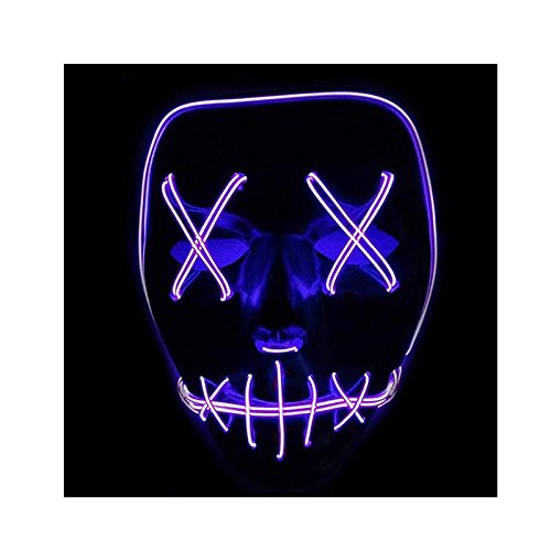 (Queta Halloween Maske LED Light EL Wire Cosplay Maske Purge Mask für Festival Cosplay Halloween Kostüm (Lila))