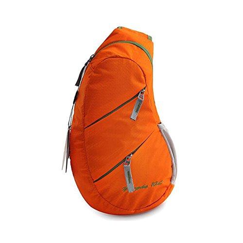 Bupin Sling petto borsa a tracolla Crossbody zaino per la scuola ciclismo, trekking, campeggio sport viaggio, Orange Orange
