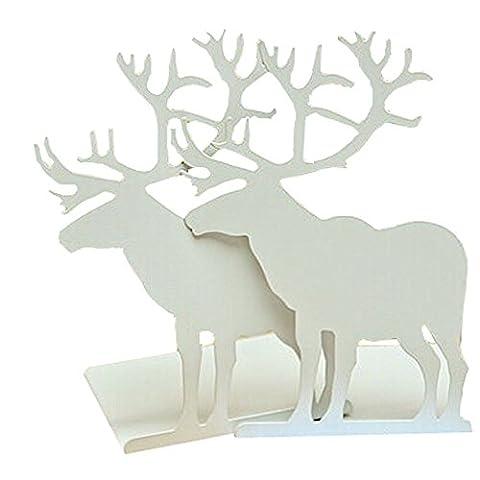 Fashion Creative Cartoon Cute Iron Elk Moose Pattern Nonskid Metal Office Desk Bookends (White)