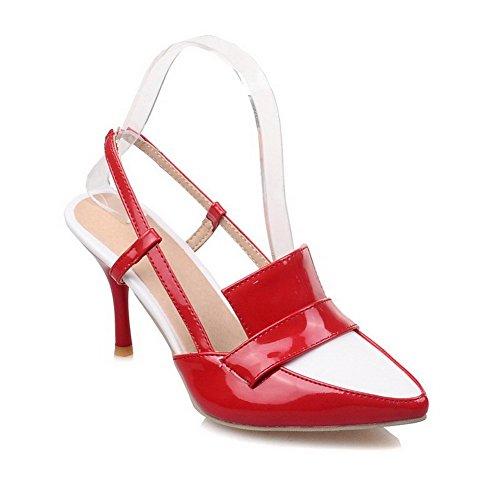 VogueZone009 Donna Tirare Punta Chiusa Tacco A Spillo Colore Assortito Sandali Rosso