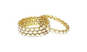Priyaasi Designer Drop Shape Kundan Studded Gold Plated Latest Traditional Royal Style Bangles for Women Set of 4