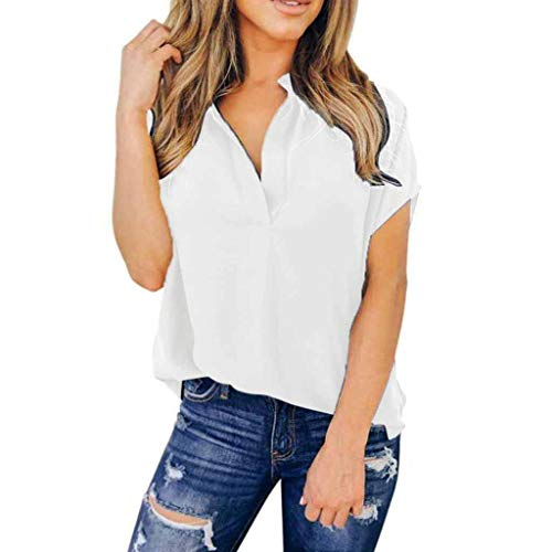 T-Shirts für Frauen, Einfarbiges Chiffon Shirts Tops Damen Party Elegant Tunika Business Bluse Vintage Oberteile Kurzarm Hemd Freizeithemd (S, Weiß) ()