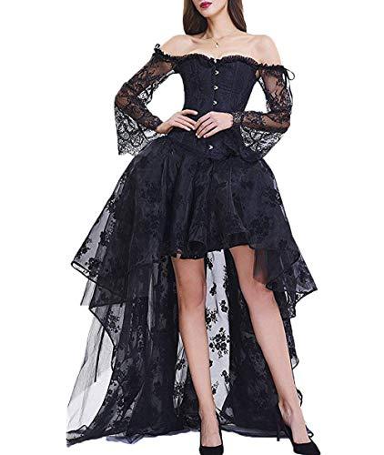 Dehots Damen Korsagen + Rock Gothic Korsett Lang Party Steampunk Korsage für Fasching Halloween Karneval Corsage Kostüm Schwarz (Kostüm Schwarzen Korsett)