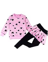DHASIUE Conjunto de Ropa para niñas y niños, Manga Corta, Camiseta de algodón + Falda Falda Falda con impresión de corazón para bebé de 1 a 7 años