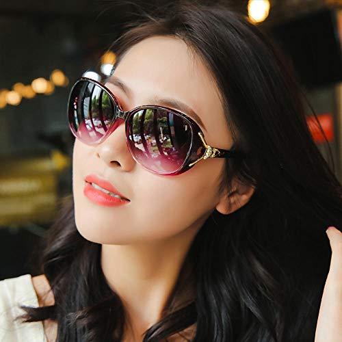 Polarisierte neue Sonnenbrille rundes Gesicht Sonnenbrille weibliche Brille Koreanische Version der Flut großes Gesicht ins Frau Schwarz Rahmen Verfärbung (Taschentuch) @Transparent lila (Taschentu