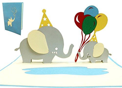 LIN 17534, POP- UP Karten, POP UP Karten Geburtstag, 3D Grußkarten 3D Karte Klappkarte Geburtstagskarte Hochzeit Geburt, Elefanten, N288